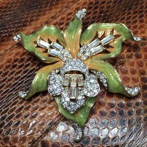 NOLAN MILLER flower Orchid brooch pin green RARE